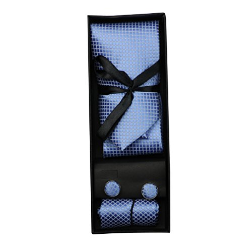 Pour Homme Nouveau Ensemble cadeau 3pièces Boîte de poche, boutons de manchette Homme, Carré pour Mariage/Bal–18couleurs bleu clair