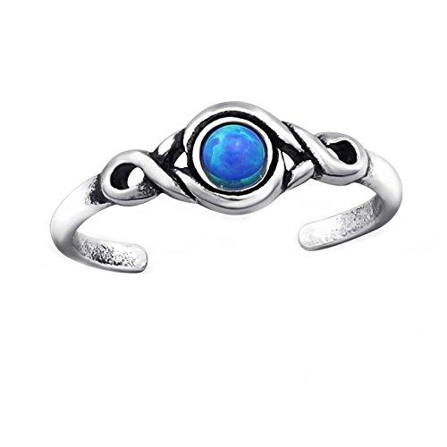 FIVE-D SL-Silver Zehenring Zehring Ring Türkis Grösse einstellbar 925 Sterling Silber im Schmucketui (Silber/Türkisblau)
