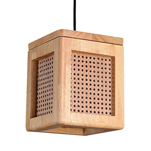 HULUWA Holzwürfel Lampe kreisförmige perforierte Netting stilvolle Akzent Tisch Schreibtisch Spa Lampen for Zuhause, Schlafzimmer, Wohnzimmer, Nachttischlampe, Büro, Empfangsbereich, Restaurants, Kuns -