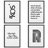 PEDY Lot de 4 Cadres Photo avec Inscriptions en Panneau MDF + Couvercle en Verre A4 | Nombreuses possibilités de création pour la décoration de la Maison et du Jardin Noir