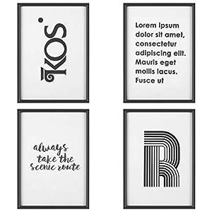 PEDY Set 4 Bilderrahmen Poster Posterrahmen mit Sprüchen (MDF + Glasabdeckung A4) | Zahlreiche Gestaltungsmöglichkeiten für Store- und Raumdekoration Schwarz