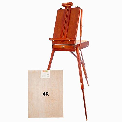 Staffelei Folding Männer Toolbox Aquarell Feine Kunst Skizzieren Malerei Box Tragbare Multifunktions Ölgemälde Rahmen Tee Rote Farbe (Farbe : Easel+Sketchpad) -