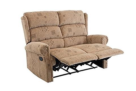 Birlea Manhattan Recliner Chair - Fabric, 2 Seater, Wheat