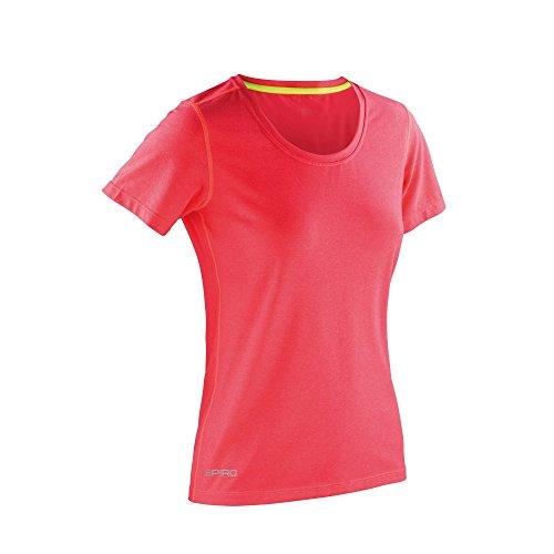 Spiro Damen Fitness Shiny Panel T-Shirt, meliert Sportgrau/Koralle