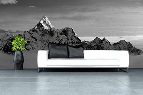 Vlies Tapete XXL Poster Fototapete Berg Gipfel Natur Farbe schwarz weiß, Größe 400 x 200 cm selbstklebend