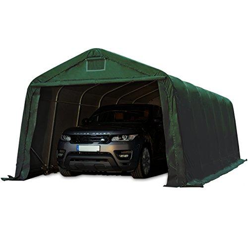 TOOLPORT Garagenzelt Carport 3,3 x 6,0 m in dunkelgrün Weidezelt Unterstand Lagerzelt mit feuersicherer 720 g/m² PVC Plane