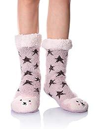 Women Girls Soft Warm Cute Animal Fuzzy Fleece Lined Slipper Socks Winter Home Slipper Socks