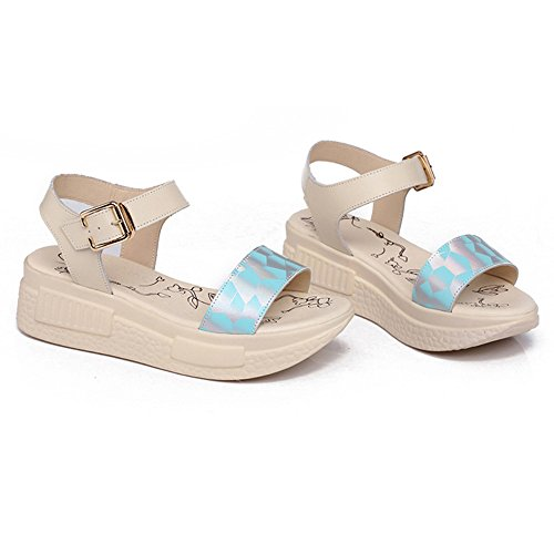COOLCEPT Femmes Mode Orteil ouvert Cheville Forme Plate Sandales Simple Beach Chaussures Bleu
