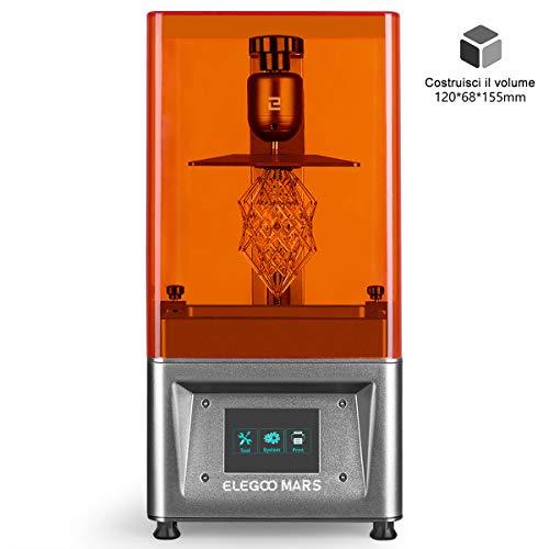 """ELEGOO Stampante 3D LCD per Fotopolimerizzante MARS UV con Schermo a Colori Smart Touch da 3,5"""" Stampa Offline 3D Pinter Dimensione di stampa 11.98cm (L) x 6.8cm(W) x 15.5cm(H)- Argento"""