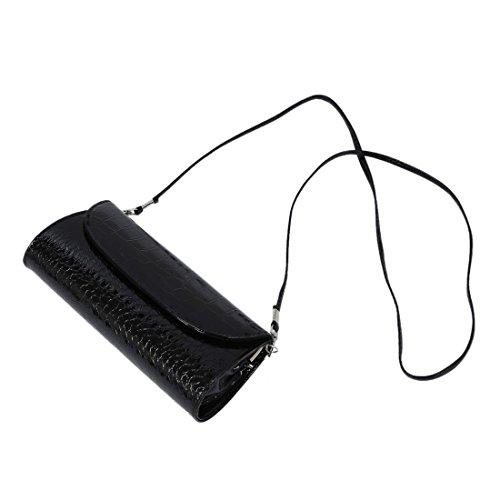 TOOGOO(R) Le nuove donne del sacchetto del cross-body della spalla della catena del raccoglitore di modo frizionano il raccoglitore-bianco Nero