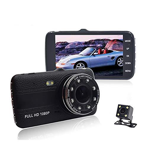QAX Dashcam Auto Dash Camera 4 Zoll Recorder Sternenlicht Nachtsicht HD Front- und Heckdoppellinse umkehren 8 Lichter füllen Lichtzyklus Video 170 ° Weitwinkel