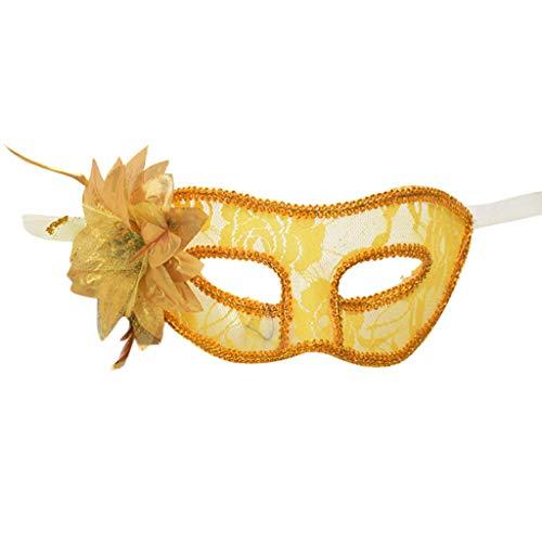 Lazzboy Karneval Maske Venezianische Maskerade Interessant Masken Karneval Party Kostüm Festival(M,Gelb) (Erwachsene Toad Kostüm)