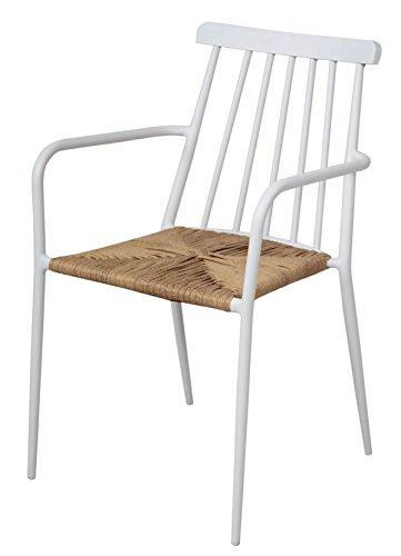 PEGANE Chaise en Aluminium Coloris Blanc - Dim : 84 x 53 x 57 cm