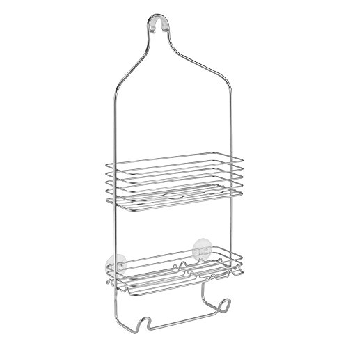 InterDesign Classico Bathroom Shower Caddy for Shampoo, Conditioner, Soap – Silver