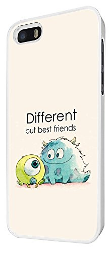 177 - Cool Fun Monsters Different But Best Friends Coque iPhone 5 5S Design Fashion Trend Case Back Cover Métal et Plastique - Blanc