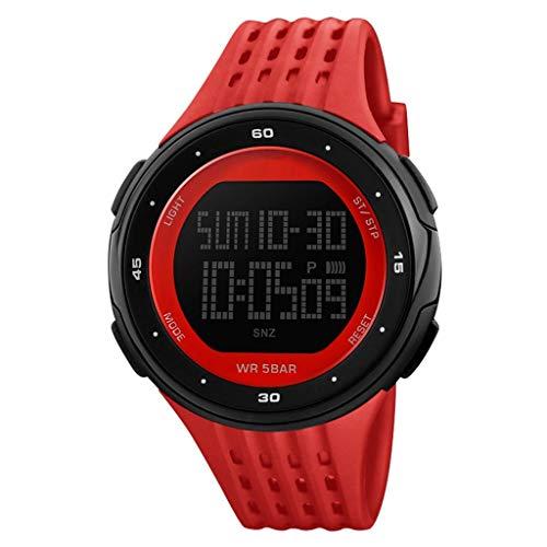ADAH Herrenuhr, Sport Electronic Watch, Große Dialwaterproof Electronic Watch, Multifunktionale Male Studentoutdoor Sport Wrist Watch for Men,Red
