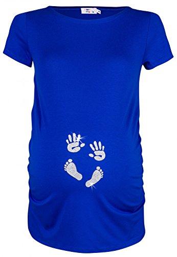 Happy Mama. Femme Chemise T-shirt grossesse imprimé empreinte pied mains. 013p (Bleu Royal, EU 40/42, L)