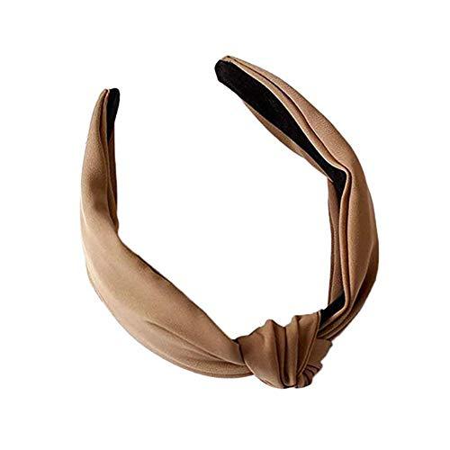 Qinlee Breit Haarreife für Damen Haarband Retro Stirnband Haarreifen mit knoten Kopf Warp Stirnband Satin vintage Kopf Warp mit Knoten koreanisches und verknotetes Haarband(khaki) -