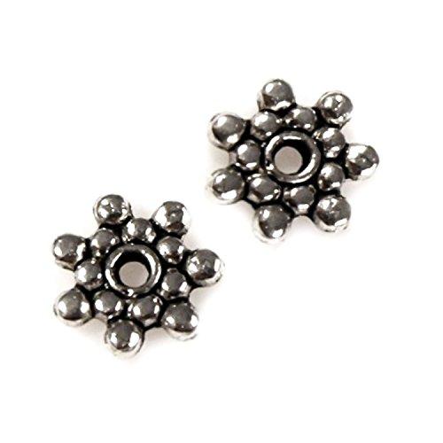 10 Zwischenelement-Perlen, Zierperlen aus Metall, 8mm, silbern