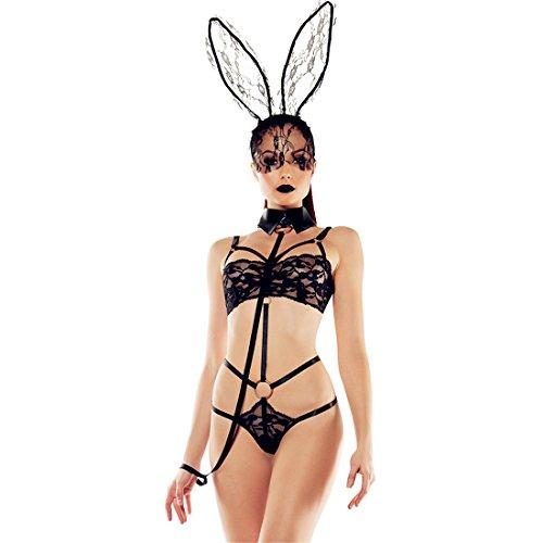 Ostern Etelux Osterhase Ostern Black Bunny Suit Damen 3 Stück Playboy Bunny Girl Sexy Kostüm Outfit Charmante Dessous, Charmante Bunny Suit Schwarz