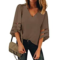 Luyeess Women's Casual V Neck Loose Mesh Panel Chiffon 3/4 Bell Sleeve Blouse Top Shirt Tee Brown, Size L(US 12-14)