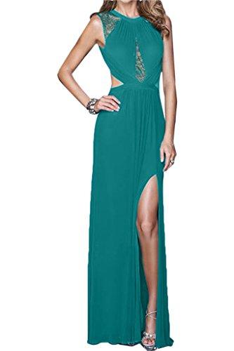 Ivydressing Damen Hochwertig Rundkragen Rueckenfrei Schlitz Chiffon&Spitze Partykleid Promkleid Festkleid Abendkleid Grün