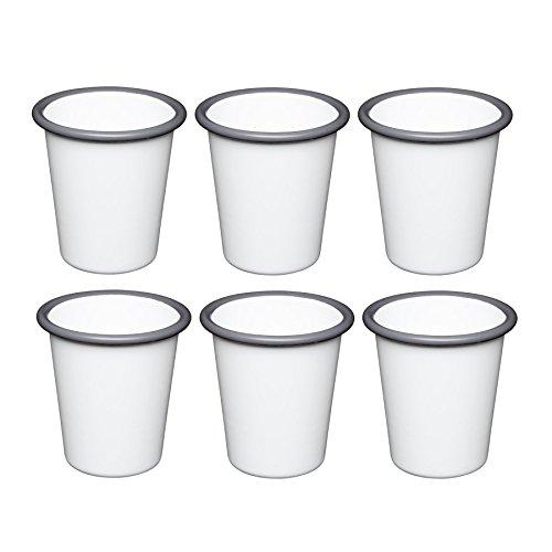 Vintage White Enamelware (Kitchen Craft Living Nostalgia Emaille Becher Tasse, weiß/grau, 300ml, 6Stück)