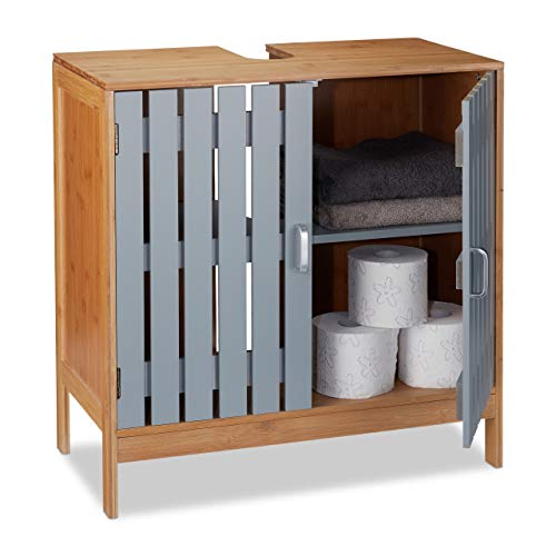 Relaxdays Waschbeckenunterschrank, Siphon-Ausschnitt, Bambus, MDF, WC Unterschrank, HxBxT: 61,5 x 60 x 30 cm, natur/grau