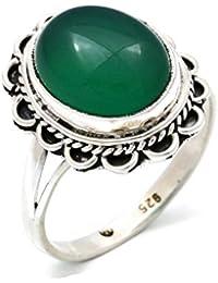 Uhren & Schmuck Handgemacht 925 Sterlingsilber Grün Zirkonia Markasit Steine Herren Damen Ring @