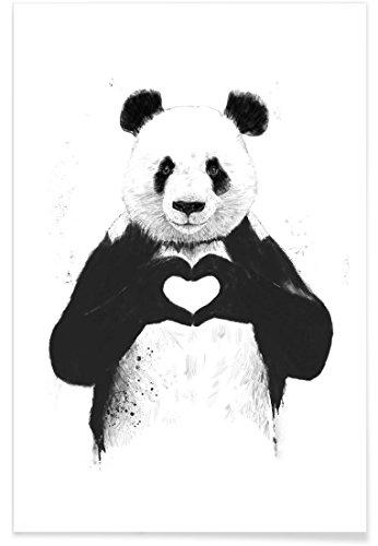 """JUNIQE Premium Poster 80x120cm """"All You Need Is Love"""" von Balázs Solti - Schwarz & Weiß,..."""