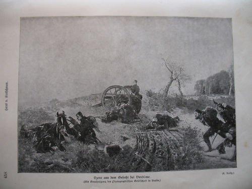 1870 / 71: Szene aus dem Gefecht bei Vendome - historische Lithografie - Illustrationstafel (Original !) von 1895