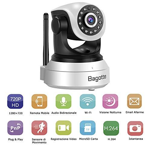 Bagotte HD 720P Telecamera Sorveglianza Wifi Interno, Videocamera IP Wireless Camera, Visione Notturna a Infrarossi , Audio Bidirezionale, Sensore di Movimento Pan/Tilt, Compatibile con iOS & Android - 4