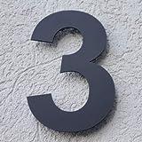 Huisnummer acryl antraciet grijs mat 6mm of 8mm RAL: 7016 - deurnummer - postnummer - plexiglas