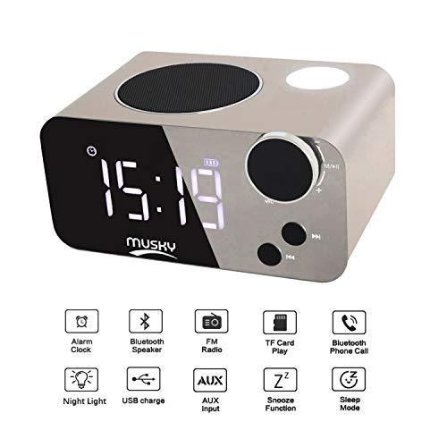 Tragbare Multifunktions Wecker Bluetooth Lautsprecher & Digitaler Wecker Tischuhr Nachttisch Uhr, Dual-Alarm, LED-Nachtlicht mit Touch Sensing, FM Radio, Großem Display, Gold