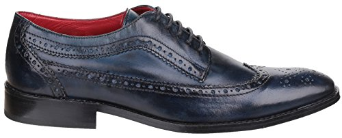 Base London Mens Durham Washed Lace Up Casual Leather Boots Navy