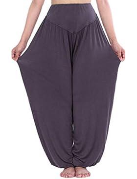 Mujer Pantalones Harén - Color Sólido Cintura Elástico Pantalón Moda Casual Slim Pantalones para Deportes Yoga...