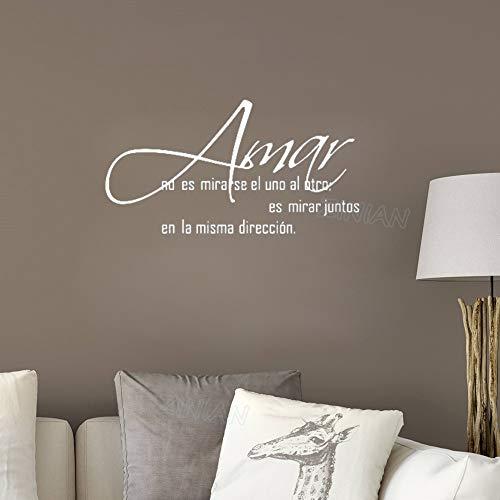 wlwhaoo Wandtattoo Aufkleber Zitate Hauptregel Spanische Sprache Kunst Aufkleber Sofa Hintergrund Wohnzimmer Dekoration Tapete weiß 79X42 cm -