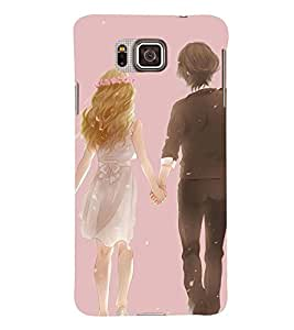 Printvisa Romantic Couple In Snowfall Back Case Cover for Samsung Galaxy Alpha G850