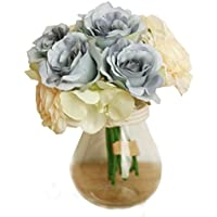 Xinantime Flores Artificiales,Xinan Flores de Rosa Decoración para Hogar Boda (Azul)