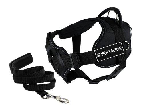 Dean & Tyler's DT Fun Bruststütze Search & Rescue Hundegeschirr mit reflektierendem Rand, gepolsterte Leine, Größe L und 1,8 m (Sar-patch Klett)