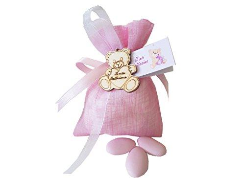 24 sacchetti organza + 24 decorazioni legno battesimo orsetto + nastrino + bigl (rosa)