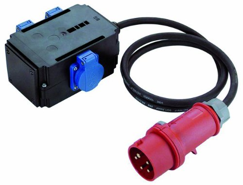 Bachmann 349.027 CEE-Adapter 1xCEE Stecker und 3xSchutzkontaktsteckdosen, Schwarz/Rot/Blau