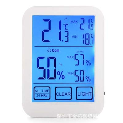 DyNamic LCD-Digital-Touch Screen Innen-Thermometer-Hygrometer-Temp-Feuchtigkeits-Meter-Licht