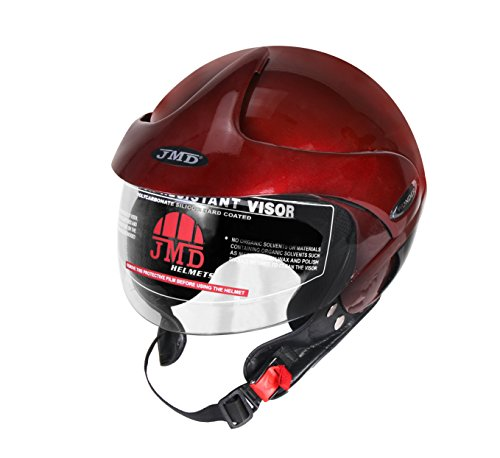 JMD Wonder With Peak Open Face Helmet (L) Wine Red