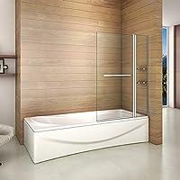 Bañera 2 piezas Mampara pantalla de ducha plegable vuelta 180 ° 100x140cm