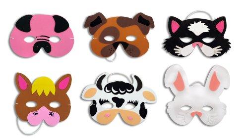 6 Farm Animal Foam Masks Fancy Dress Accessories Kids Nativity Party Bag
