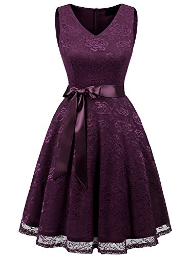 IVNIS RS90025 Damen Ärmellos Vintage Spitzen Abendkleider Cocktail Party Floral Kleid Grape M - Billig Kleider Für Formale Frauen