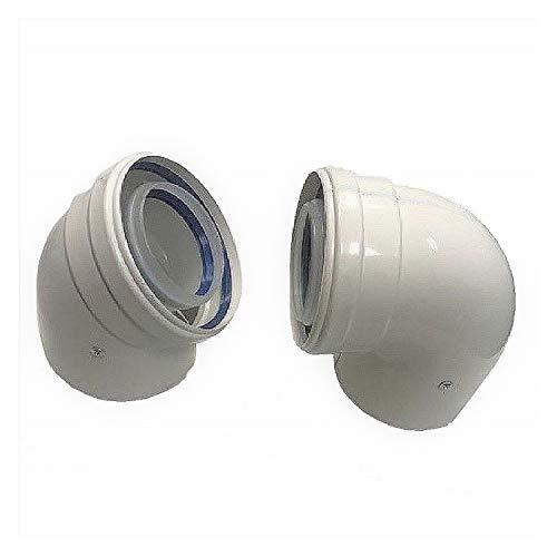 Uzman-Versand, Konzentrische Abgasrohr/90° Bogen Ø 60/100 mm, Bogen, Winkel, Abgas-Rohr Abgassystem Doppelrohr, Abgasrohr, (90° Bogen)