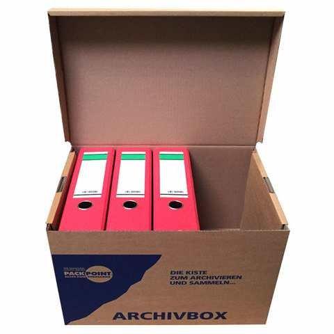 """10 Stk. Archivbox 400x320x290mm, extrem stabil, bis 250kg stapelbar / Ausführung: Braun mit Beschriftung """"Archivbox"""" - 3"""