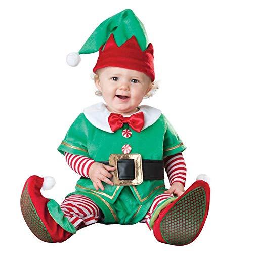 Alextry Kinder Weihnachts-Kostüm, Kostüm, Strampler-Set Santa Claus Elch Elf Jumpsuit Outfit Kid Boy Girl Performance Kleidung, grün, - Santa Girl Kostüm Weihnachten